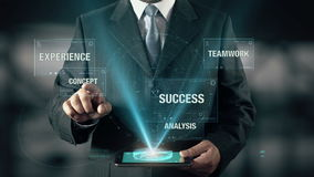 El hombre de negocios con concepto del plan empresarial elige concepto de trabajo en equipo del éxito del análisis de la experien almacen de video