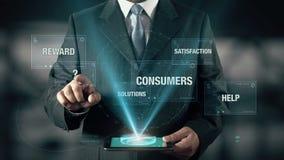 El hombre de negocios con concepto del servicio elige de soluciones de la recompensa que los consumidores de la satisfacción ayud libre illustration