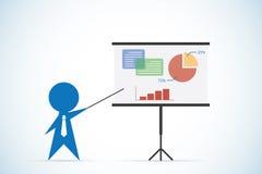 El hombre de negocios con el palillo del indicador y la presentación concepto suben, de la presentación y del negocio Imagen de archivo libre de regalías