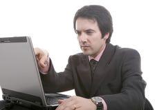 El hombre de negocios con el portable Foto de archivo libre de regalías