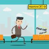 El hombre de negocios con equipaje corre a toda prisa en el terminal de aeropuerto, autobús libre illustration
