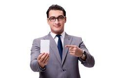 El hombre de negocios con la tarjeta en blanco aislada en el fondo blanco Foto de archivo