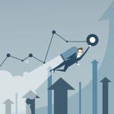 El hombre de negocios con las flechas de Jet Pack Over Finance Graph sube concepto de lanzamiento acertado del proyecto Imagen de archivo