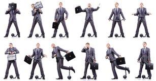 El hombre de negocios con los grillos en blanco Imagenes de archivo