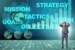 El hombre de negocios confundido con objetivos estratégicos Imagen de archivo