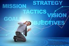 El hombre de negocios confundido con objetivos estratégicos Imagenes de archivo