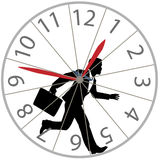 El hombre de negocios corre la carrera de rata en reloj de la rueda del hámster Fotos de archivo libres de regalías