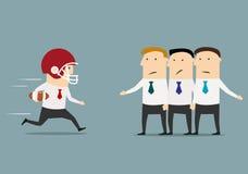El hombre de negocios corre a la derecha a través a la meta Foto de archivo libre de regalías
