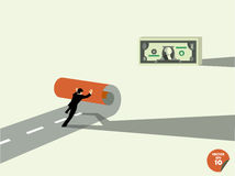 El hombre de negocios crea para poseer manera al dinero del dólar ilustración del vector