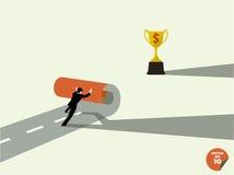 El hombre de negocios crea para poseer trophys de la manera ilustración del vector