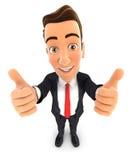 el hombre de negocios 3d manosea con los dedos para arriba Foto de archivo libre de regalías