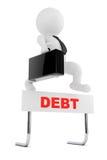 el hombre de negocios 3d salta sobre la barrera de la deuda representación 3d ilustración del vector