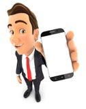 el hombre de negocios 3d sostiene smartphone Foto de archivo