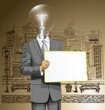 El hombre de negocios de la cabeza de la lámpara del vector con vacío escribe al tablero Fotografía de archivo