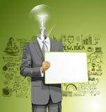 El hombre de negocios de la cabeza de la lámpara del vector con vacío escribe al tablero libre illustration