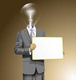 El hombre de negocios de la cabeza de la lámpara del vector con vacío escribe al tablero Imagenes de archivo