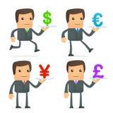 El hombre de negocios de la historieta lleva una bandeja de dinero en circulación ilustración del vector