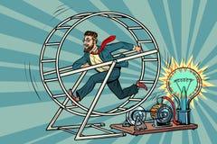 El hombre de negocios del inconformista produce la electricidad, generador de poder stock de ilustración
