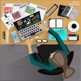 El hombre de negocios del lugar de trabajo del vector vio el uso de la tecnología de las comunicaciones moderna, cuaderno, teléfo Foto de archivo