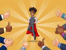 El hombre de negocios del super héroe en chaleco con muchos pulgares sube y las manos que aplauden ilustración del vector