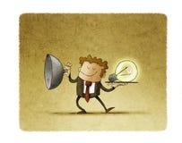 El hombre de negocios destapa la bandeja donde una bombilla aparece como concepto de creatividad stock de ilustración