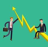 El hombre de negocios detallado vector del carácter subió el horario cada vez mayor stock de ilustración