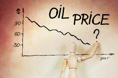 El hombre de negocios dibuja el gráfico de la caída de precios del aceite Fotos de archivo libres de regalías