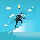 El hombre de negocios dibuja las escaleras y caminar para arriba Ejemplo del vector del concepto del negocio Alcanzar meta Crecim Fotografía de archivo libre de regalías