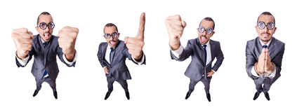 El hombre de negocios divertido del empollón aislado en blanco imágenes de archivo libres de regalías