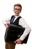 El hombre de negocios divertido en blanco imágenes de archivo libres de regalías