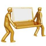 El hombre de negocios dos 3d lleva una computadora portátil grande Foto de archivo libre de regalías