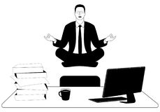 El hombre de negocios eleva y mantiene flotando en la actitud del loto del padmasana Fotografía de archivo