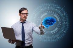 El hombre de negocios en concepto de la inteligencia artificial fotos de archivo libres de regalías