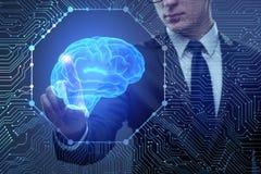 El hombre de negocios en concepto de la inteligencia artificial foto de archivo libre de regalías