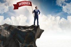 El hombre de negocios en concepto del negocio del ganador imágenes de archivo libres de regalías