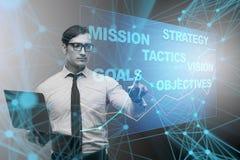 El hombre de negocios en concepto del planeamiento estratégico Fotografía de archivo libre de regalías