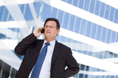 El hombre de negocios en cuestión habla en su teléfono celular Fotografía de archivo libre de regalías