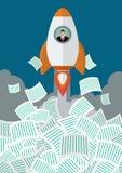 El hombre de negocios en el cohete consigue lejos de muchos documentos Foto de archivo libre de regalías