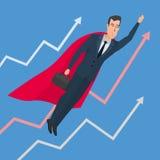 El hombre de negocios en un super héroe del traje vuela para arriba sobre la línea carta ilustración del vector
