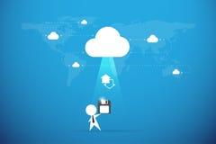 El hombre de negocios envía del disco blando a la nube, concepto de reserva de los datos Foto de archivo libre de regalías