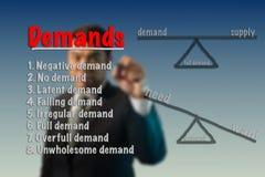 El hombre de negocios escribe concepto de las demandas foto de archivo libre de regalías