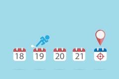 El hombre de negocios está corriendo en símbolos del calendario al icono de la blanco, al tiempo y al concepto del negocio Imagen de archivo