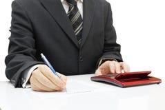 El hombre de negocios está haciendo el plan empresarial Imágenes de archivo libres de regalías