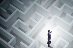 El hombre de negocios está intentando escaparse de laberinto del laberinto Imagen de archivo