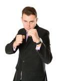 El hombre de negocios está listo para la lucha Fotos de archivo