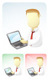 El hombre de negocios está mostrando resultados en computadora portátil Fotos de archivo libres de regalías