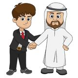 El hombre de negocios europeo y musulmán sacude las manos vector e illustrat Foto de archivo