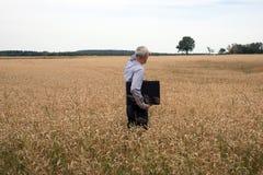 El hombre de negocios explora en el campo de trigo Foto de archivo libre de regalías