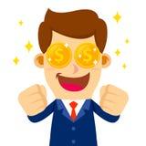El hombre de negocios Feeling Excited To ve el dinero libre illustration