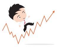 El hombre de negocios feliz de caminar y corriendo para arriba en la tendencia roja de la flecha, camino al éxito, presentó en fo Imagen de archivo